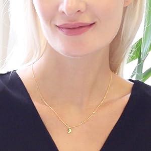 Tiny Charm Necklace - Small Dainty Simple Minimalist Pendant Chain Choker