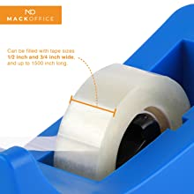 Tape Dispenser, 1/2 Inches and 3/4 Inches wide tape roll, compatible with Scotch and Staples