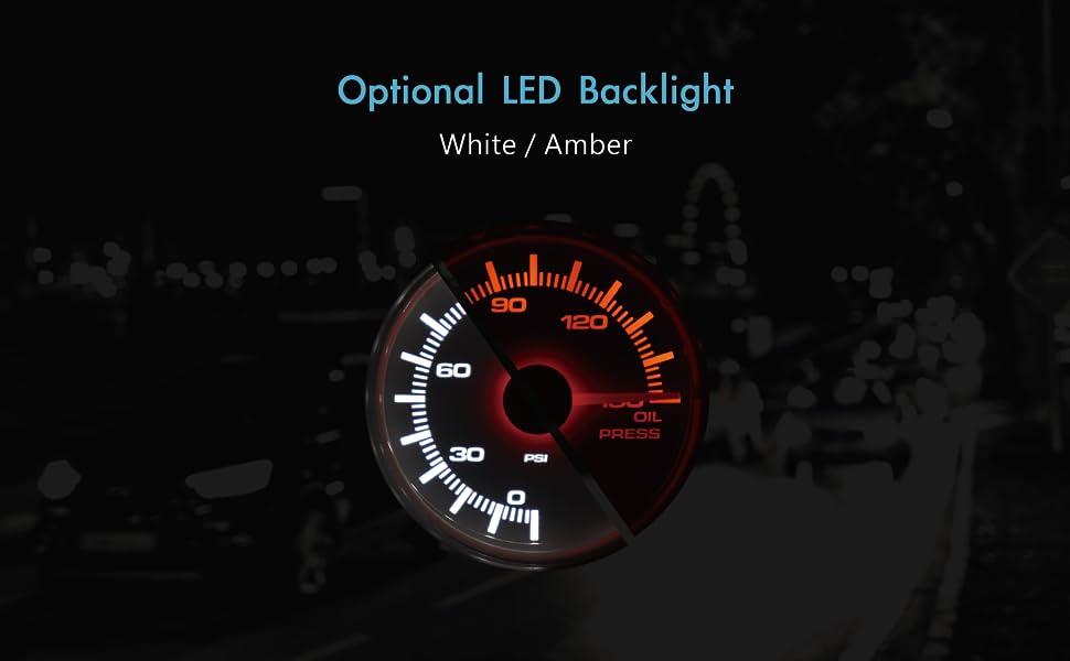 "Electronic Boost Gauge 2/"" BAR Dual LED Backlit White Amber Waterproof Pin-Style"