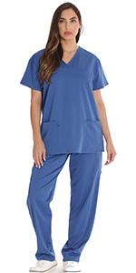 scrub scrubs set top bottom pant nurse uniform dr nurses