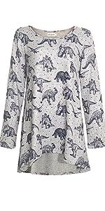 LaVieLente Ultra Soft Long Sleeve Dinosaur Hi-Lo Knit Tunic Top