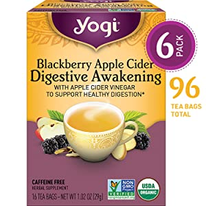 yogi blackberry apple cider digestive awakening tea for digestion support and relief