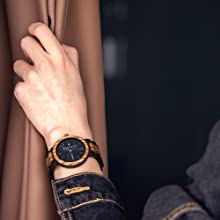 Bewell 木製腕時計 メンズ 日本製クオーツ 曜日 日付き アナログ表示 ファッション 復古 天然木腕時計