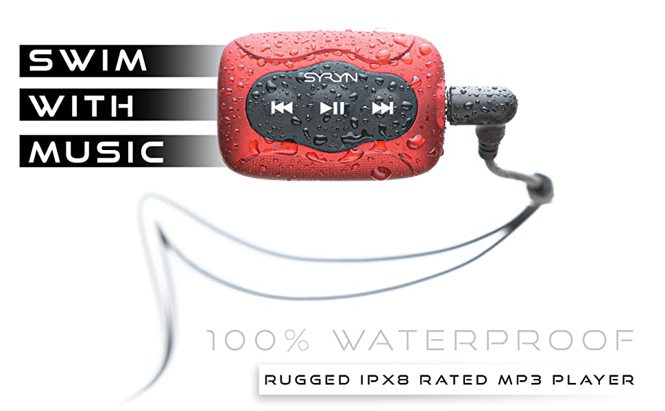 Syryn Swimbuds FLip Waterproof MP3 Player earbuds bundle