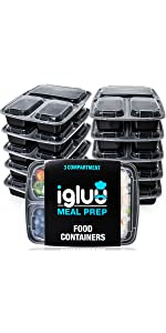 3 triple three compartment Igluu meal prep containers single section sectioned trays tubs