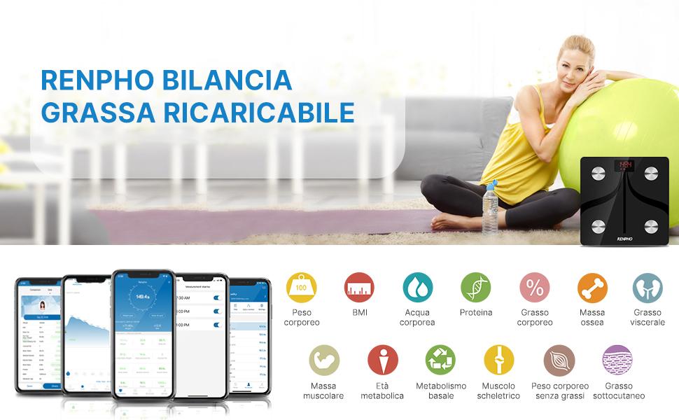 RENPHO Smart Scale Bilancia Smart Bluetooth Digitale con App USB Ricaricabile...