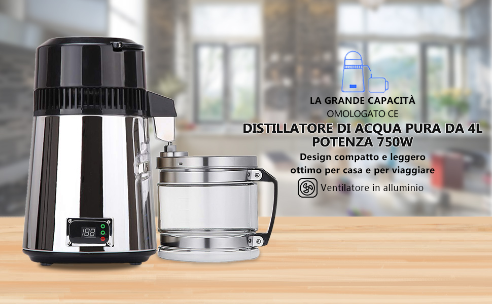 4L distillatore acqua pura 304 bottiglia di raccolta in acciaio inox per Dental