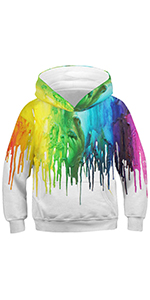 RAISEVERN Boys Girls Novetly Hoodies 3D Print Unisex Pullover Sweatshirts with Pocket for 6-16 Years