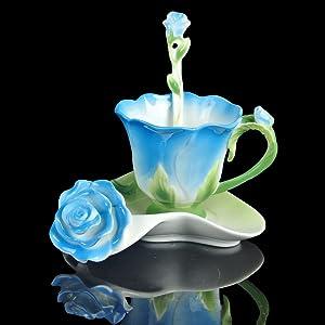 Blue Rose Shape Design Tea Cup and Saucer Set