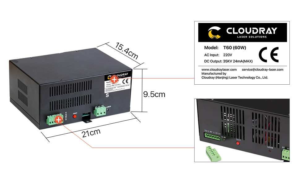 HY-T60 60W 110V Co2 L.a.s.e.r Power Supply L.a.s.e.r Engraving Cutting Machine T-Series Power Supply for Co2 L.a.s.e.r Tube