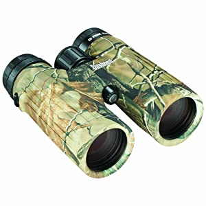 Three quarter view of Bushnell Ultra HD Realtree Binoculars
