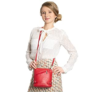 red crossbody leather bag, genuine leather handbag red, red leather bag made in Italy, crossbody bag