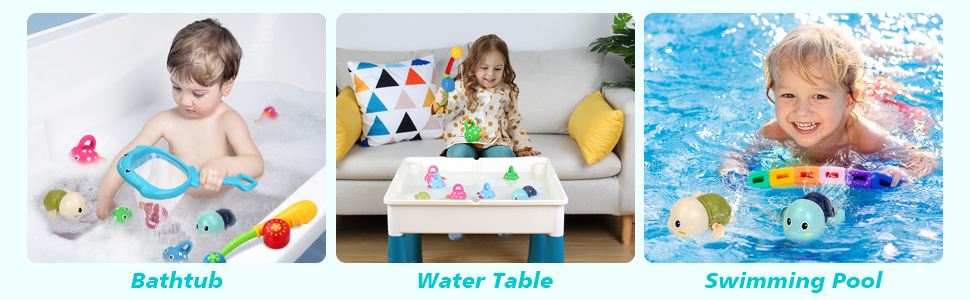 Bath Toys Water Toys with Fishing Game Floating Fish Swimming Tortise for Pool Bathtub Toddler -5