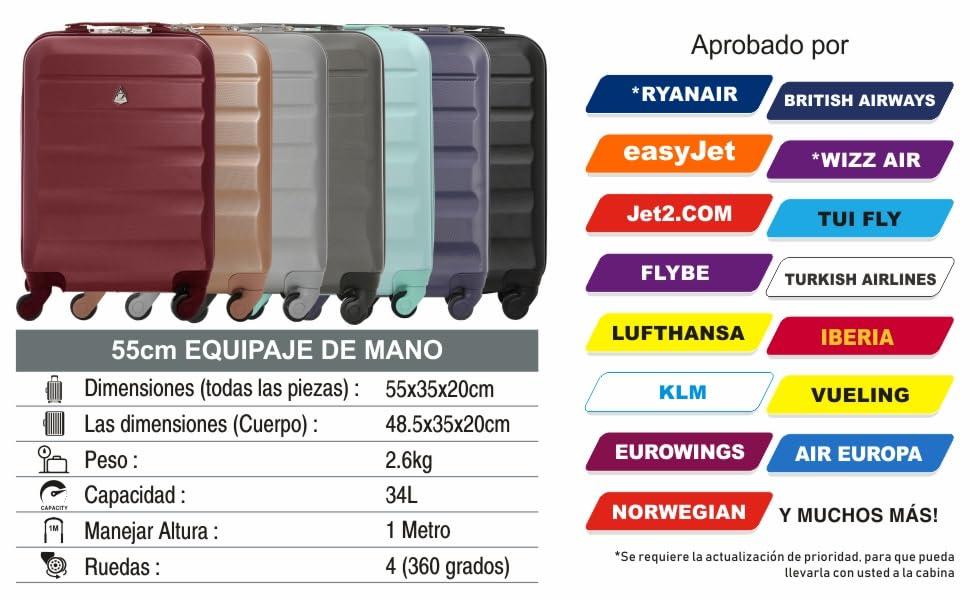 Aerolite ABS Maleta Equipaje de Mano Cabina rígida Ligera con 4 Ruedas, 55cm (Armada)