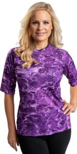 women swim rashguard shirt protection plus adult sun upf guard aqua short sleeve swimsuit athletic