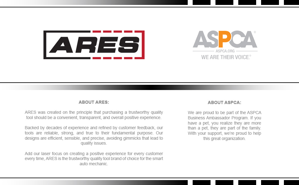 About ARES Tool: ARES is a proud business ambassador for the ASPCA.