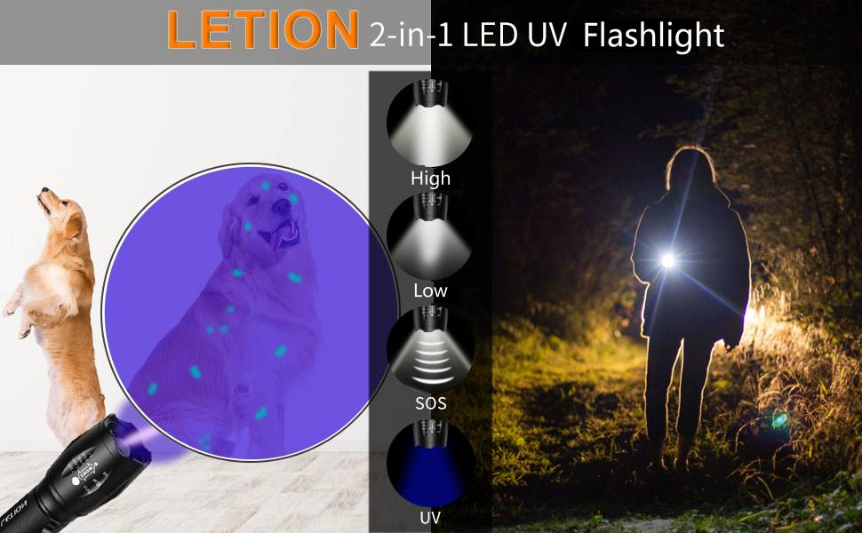 LETION UV Light, LED UV Job Torch, 2 in 1 UV Black Light with 500LM Highlight & 4 Mode & Waterproof IPX 4 for Pet Clothing Food Fungus Detection/Night Fishing/Travel