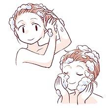 頭と顔を洗う