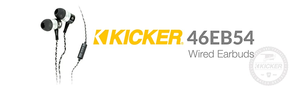 Kicker Wired Earbuds, Stereo Earbuds, Wired Earbuds, iphone earbuds, kicker earbuds