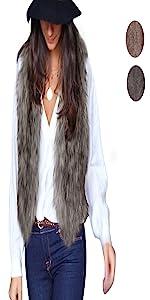 Kulywon Women Vest Sleeveless Coat Outerwear Long Hair Jacket Waistcoat