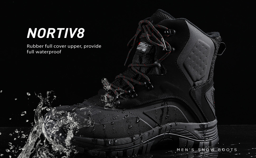 NORTIV 8 Men's Waterproof Hiking Winter Snow Boots