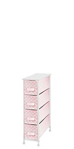Narrow Dresser Storage Organizer Tower, 4 Drawers Polka Dot 4 Drawer Narrow Storage Unit