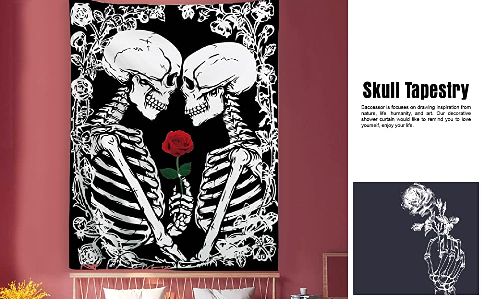 lovers tarot tapestry kissing skull skeleton sugar skull rose flowers black white gothic room decor