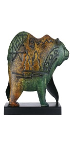Metal Bear Statue with Base African Animal Sculpture