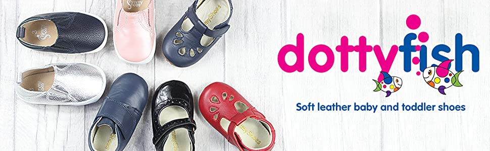 Dotty Fish, shimmy Shoes, Rubber sole toddler shoes, baby shoes, pram shoes, baby shoes, first shoes