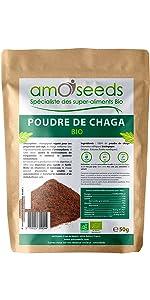 amOseeds Spécialiste des Super-Aliments Bio Poudre de Chaga Bio 50g