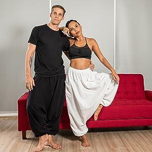 mens womens cotton lounge summer beach hippie boho dance harem yoga pants clothes for men women