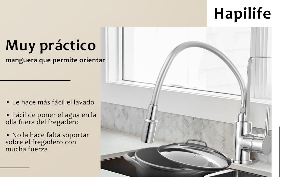 Grifo monomando Cusine miligeur fregadero en lat/ón Durable acero inoxidable revestido ca/ño giratorio de 360//° de cascada para lavabo para cocina cuarto de ba/ño