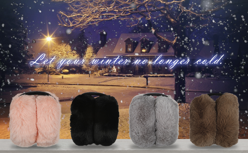 English Word Design Adult Today Winter Earmuffs Ear Warmers Faux Fur Foldable Plush Outdoor Gift