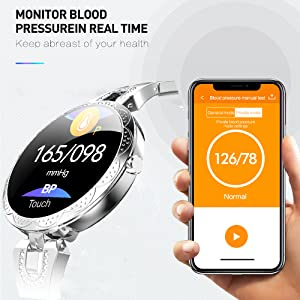 fitness tracker with blood pressure monitor smart watch BP activity tracker gold pink silver watch