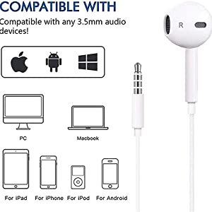 Compatible  2 Pack-Apple Headphones/Earphones/Earbuds with 3.5mm in Ear Wired Headphone Plug [Built-in Microphone & Volume Control] [Apple MFi Certified] Compatible with iPhone,iPad,iPod,Android,Laptops,MP3/4 c939fd3d bd38 4c40 83a5 06c43a2e687d