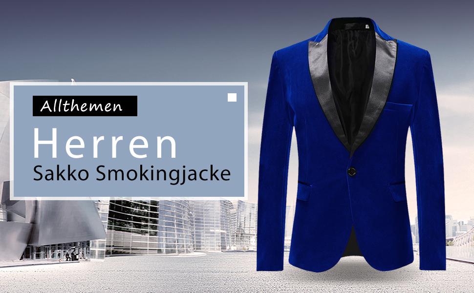 Allthemen Sakko Herren in Samt Optik Regular Fit Blazer Freizeit Smokingjacke f/ür Hochzeit Gr/ün Medium