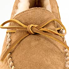 houseshoe indoor laced lace leather line loafer men moc mocc moccasin on outdoor piled sheepskin