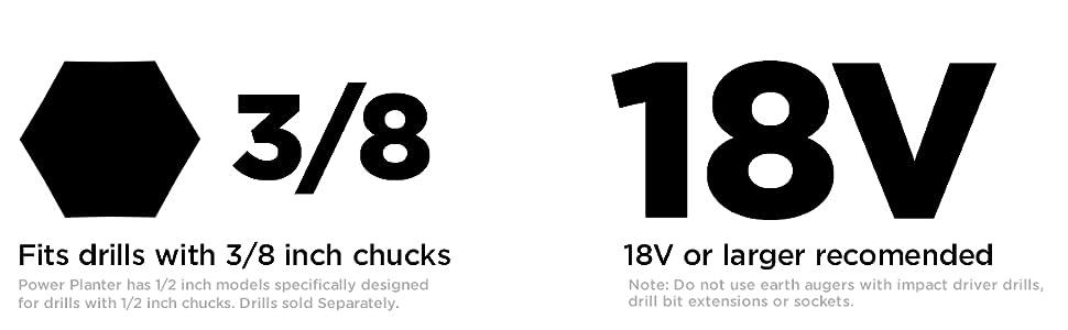 Auger Drill, Drill voltage, drill chuck size