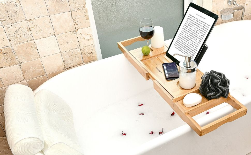 Amazon Com Bath Caddy Tray For Tub Bamboo Bathtub Tray Caddy Expandable With Wine Glass Holder And Book Stand Luxury Bubble Bath Accessories Spa Decor Self Care Gifts For Women Birthday Gift