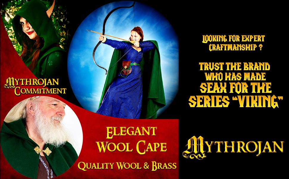 Princess Witch Renaissance wool cape SCA LARP Cosplay Viking costume Warrior Vikings cloak woolen