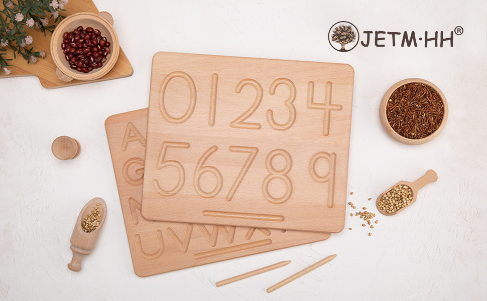 JETM·HH 2pc Wood Alphabet+Number Tracing Board