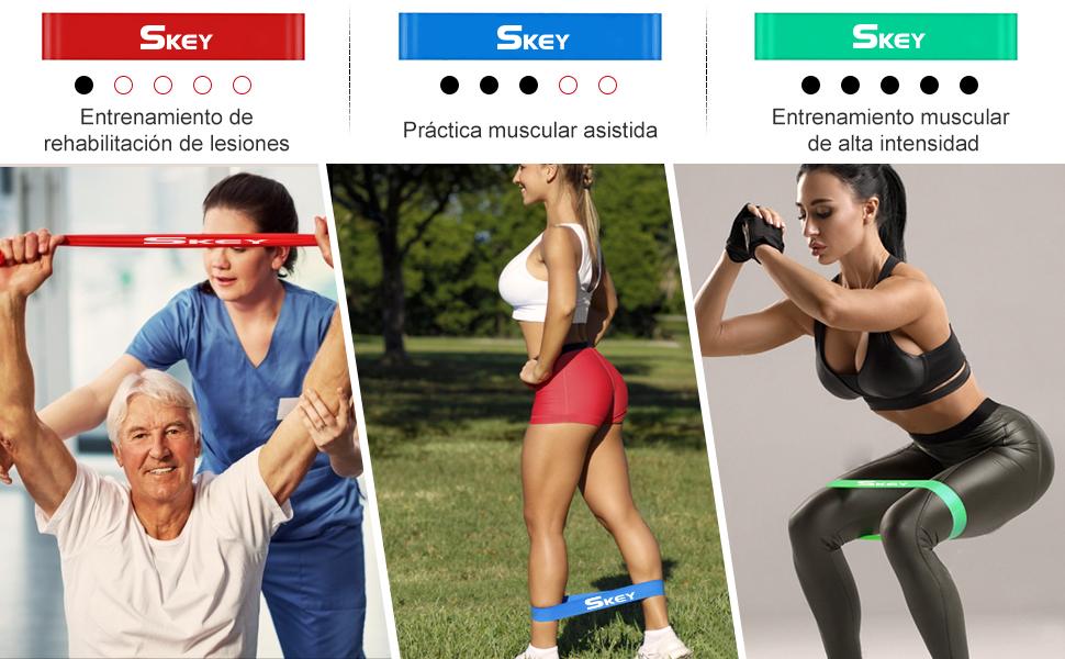 SKEY Bandas de Resistencia 16PCS Bandas Elásticas Musculacion de Látex, Banda Resistencia Adecuado para Fitness, Pérdida de Peso, Yoga, Equipo de ...