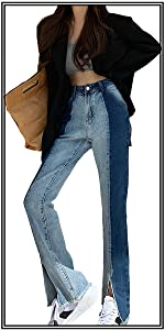 Womens High Waisted Bootcut Jean Straight Leg Skinny Jean Patchwork,only 36.99