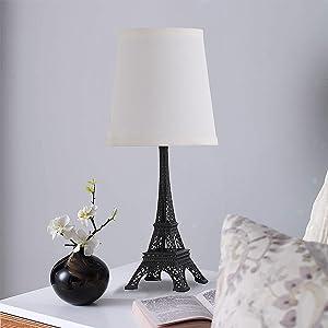 SHACOS Lot de 2 Led E27 Lampe de Chevet Noir Métal Lampe de