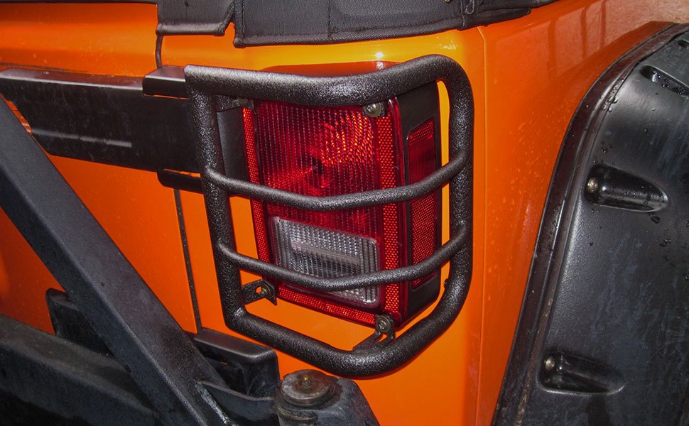 Redrock 4x4 Tail Light Guards for Jeep Wrangler JK 2007-2018 Textured Black