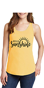 Hello Sunshine Letter Print Tank Tops For Women Funny Letter Print Shirt Tee Cute Graphic Tank Tops