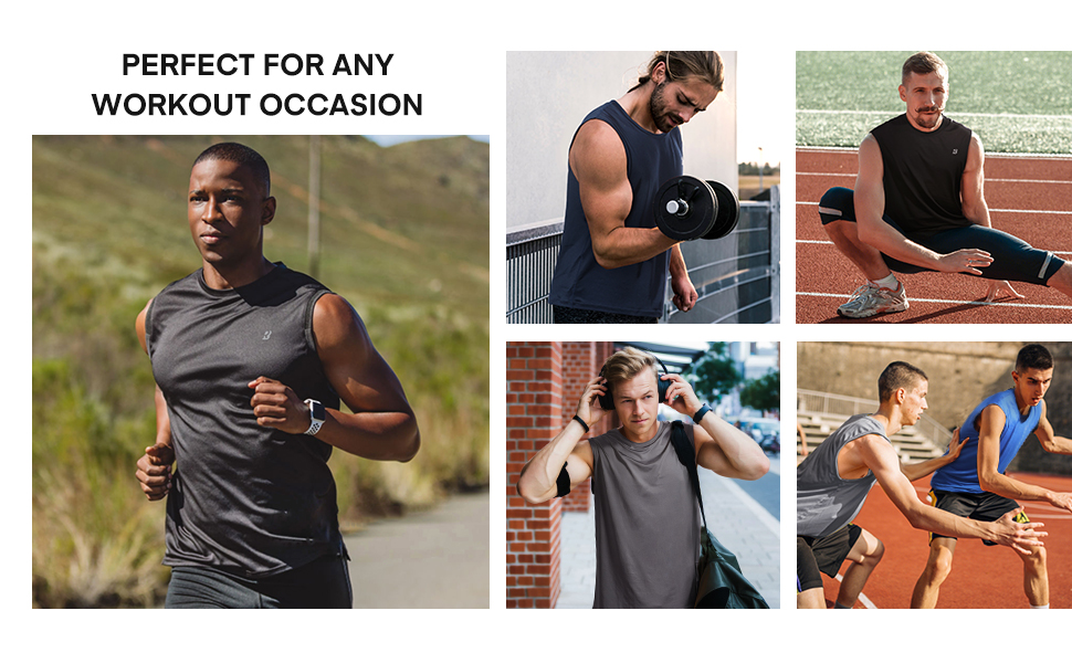 some suitable occasion of sleeveless shirts like workout athletic gym basketball running homewear