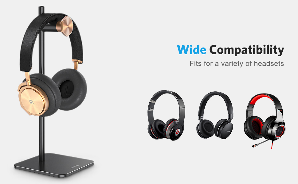 Headphone Stand Holder Adjustable,OMOTON Aluminum Headset Desktop Stand Holder with Non-Slip Silicone Base Applies to Sennheiser Bose AKG and More Black Sony Beats