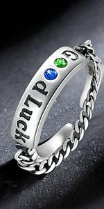 Sterling Silver Good Luck Enameled Finger Ring