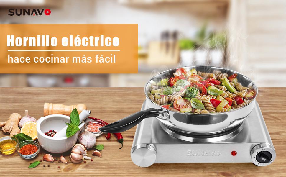 SUNAVO Hornillo Electrico Portatil, Placa eléctrica, una Hornilla ...